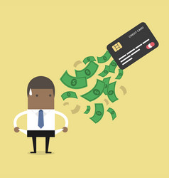 businessman no money debt from credit card vector image