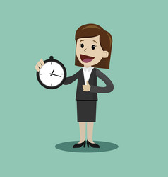 businesswoman or manager hold clock and takes vector image