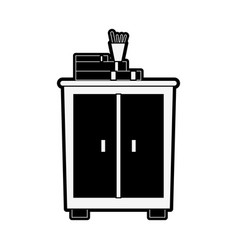cabinet with books vector image