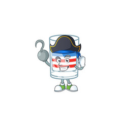 Calm one hand pirate usa stripes glass wearing hat vector