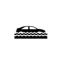 Car insurance and flood risk flat icon vector