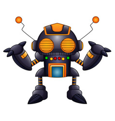 Cartoon angry robot with antennas and orange eyes vector