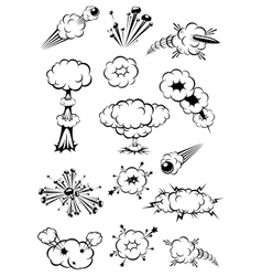 Cartoon black and white explosions vector image