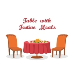 Cartoon Table with Meal Isolated vector image