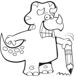 Cartoon Triceratops Holding a Pencil vector image