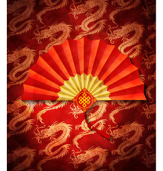 Chinese fan on dragons pattern vector