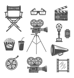 Cinema Black White Icons Set vector image