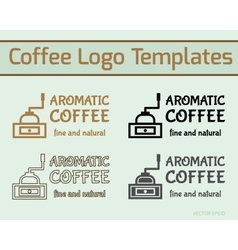 Coffee cafe icon logo template and business cards vector image