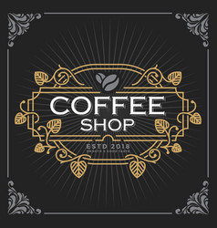 Coffee shop logo vintage luxury banner template vector
