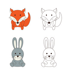 coloring page with animal wild fox and rabbit in vector image
