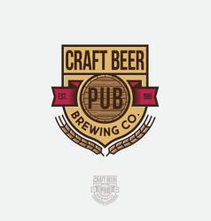 Craft beer logo emblem heraldic shield vector