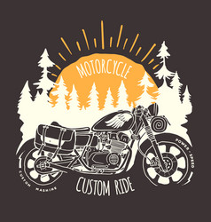 Custom bike travel hand drawn t-shirt print vector