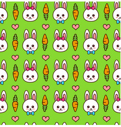 cute boy and girl rabbit bunny face vector image