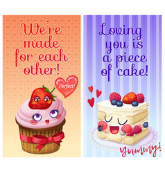 cute food characters with funny flirty quotes we vector image
