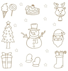 Doodle of christmas set hand draw vector