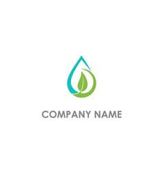 droplet eco leaf nature logo vector image