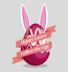 easter eggs decoration with rabbit and ribbon vector image