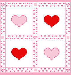 embroidery background with hearts pixel-art style vector image