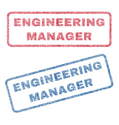 Engineering manager textile stamps vector
