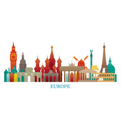 europe skyline landmarks colorful silhouette vector image