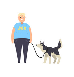 fat guy walking his husky dog vector image
