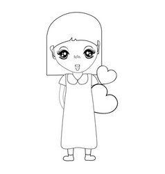 figure pretty girl with hearts in the hand and vector image