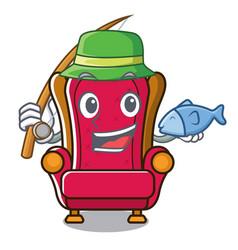 Fishing king throne mascot cartoon vector