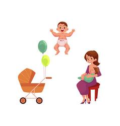 Flat girl with infant toddler baby pram vector