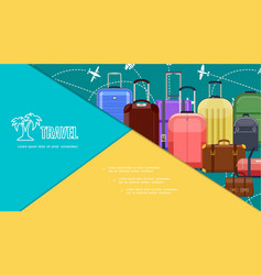 Flat travel bags colorful composition vector