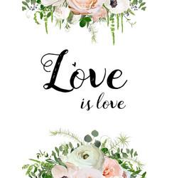 Floral design card design pink rose anemone vector