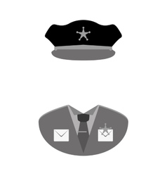 Grayscale police uniform icon image vector