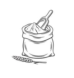 Hand drawn bag flour vector