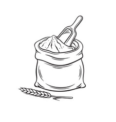 Hand drawn bag of flour vector