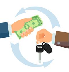 Hand giving car keys business car rental vector