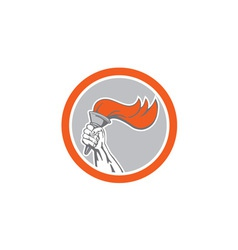 Hand Holding Flaming Torch Circle Retro vector