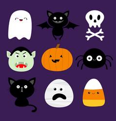happy halloween candy corn ghost spirit pumpkin vector image