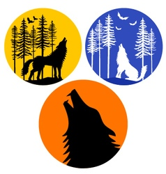 howling wolf with moon set vector image