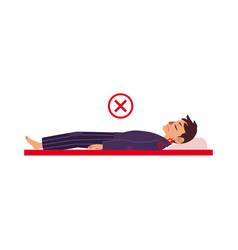 Incorrect back sleeping posture man vector