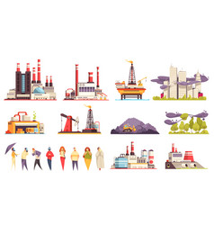 Industrial buildings cartoon set vector