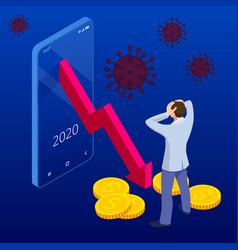 Isometric global economic impacts 2020 vector