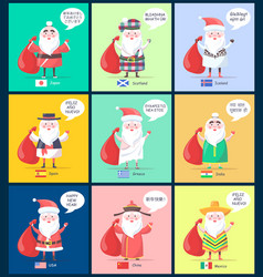 Japan scotland santa clauses vector