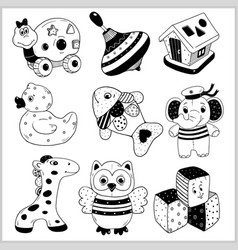 Kids toys cartoon - icons collection vector