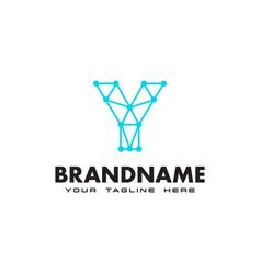 letter y dot network connection logo design vector image