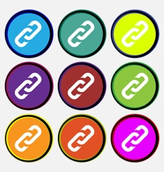 Link icon sign Nine multi colored round buttons vector