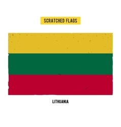 Lithuanian grunge flag with little scratches on vector image