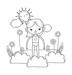 little girl in the garden with flowers vector image