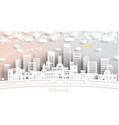 madrid spain city skyline in paper cut style with vector image