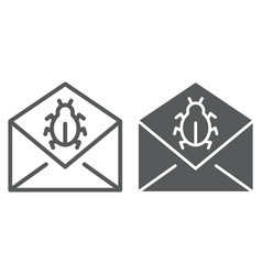 mail virus attack line and glyph icon message vector image