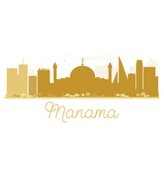 Manama City skyline golden silhouette vector