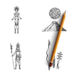 Maya civilization - people tools vector